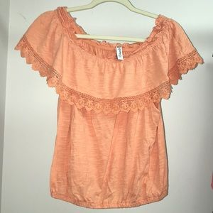 American Rag light orange off the shoulders blouse